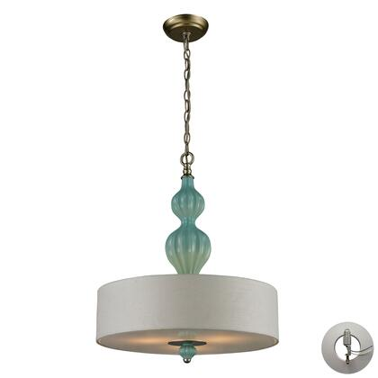 31362/3-LA Lilliana 3 Light Pendant in Seafoam and Aged Silver with Adapter