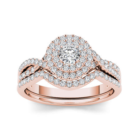 3/4 CT. T.W. Diamond Halo 14K Rose Gold Bridal Ring Set, 6 , No Color Family