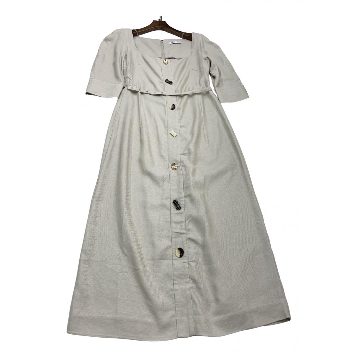 Rejina Pyo \N Kleid in  Khaki Leinen