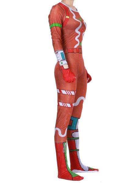 Milanoo Fortnite Cosplay Costumes Oragnge Red Fortnite Game Leotard Jumpsuit Merry Marauder Lycra Spandex Adult\'s Game Cosplay Costumes