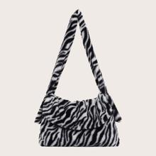 Zebra Striped Pattern Fluffy Shoulder Bag