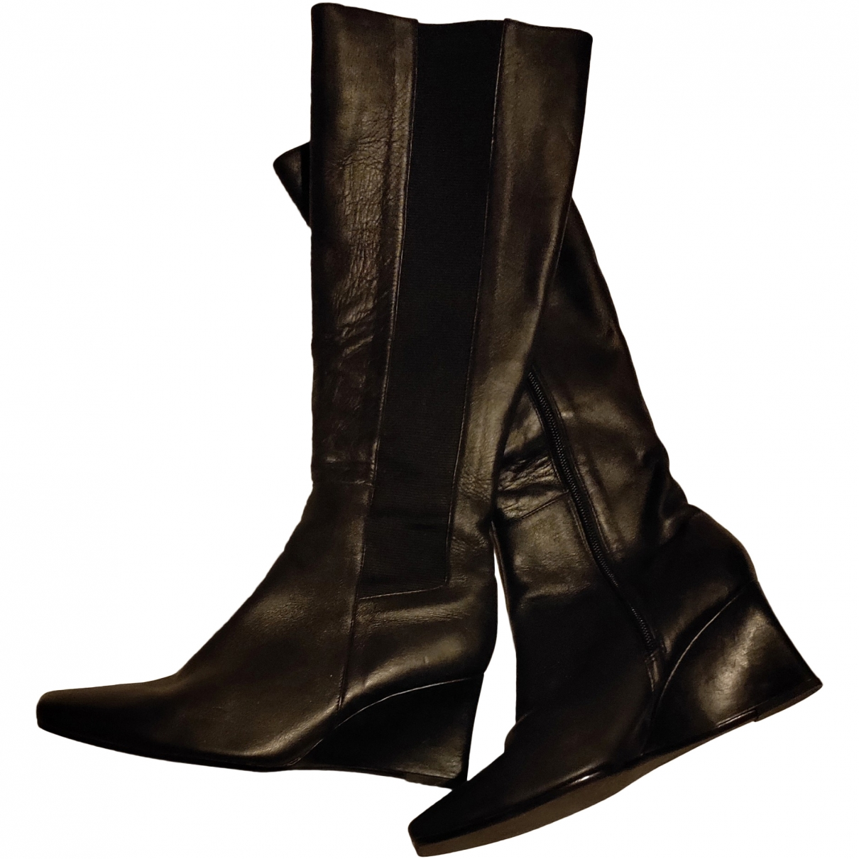 Non Signé / Unsigned \N Black Leather Boots for Women 38 EU