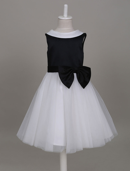 Milanoo Flower Girl Dresses Dark Navy Tutu Dress Kids Round Neck V Back Bow Short Formal Party Dress For Girls