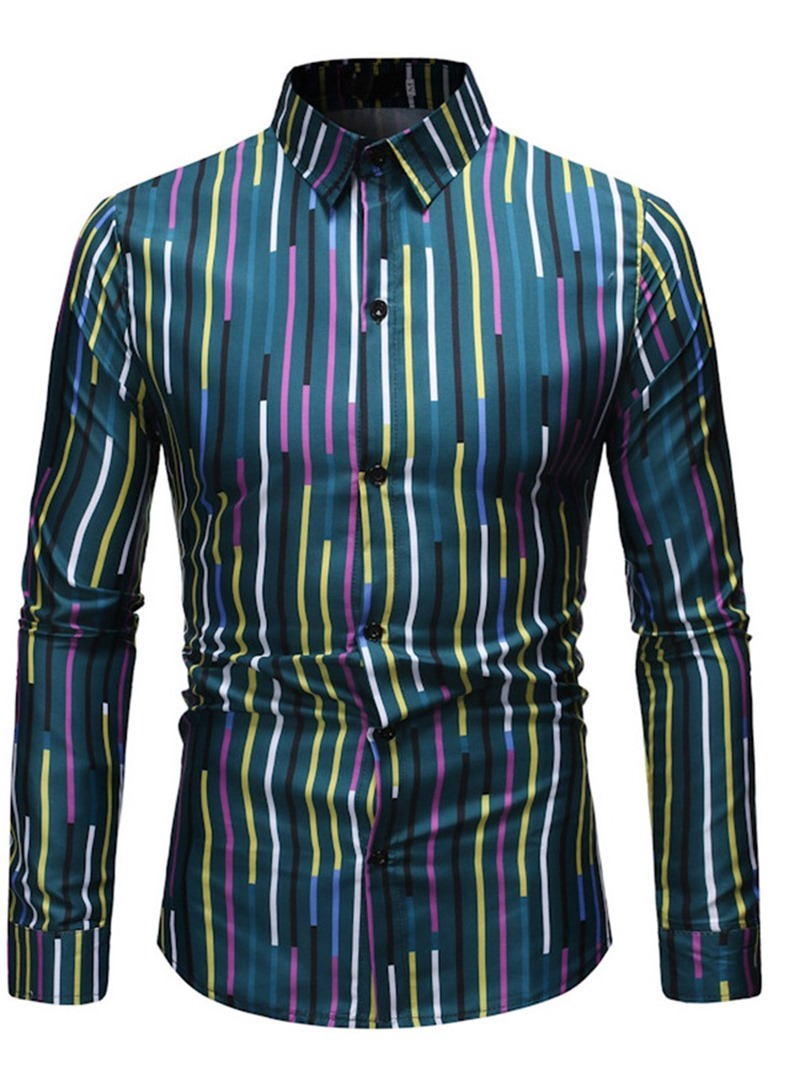 Ericdress Stripe Fashion Lapel Men's Single-Breasted Shirt