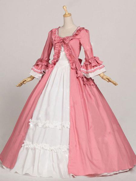 Milanoo Disfraz Halloween Rococo Retro Disfraces Mujer Ruffles Bow Marie Antoinette Disfraz Vintage Ropa Carnaval Halloween