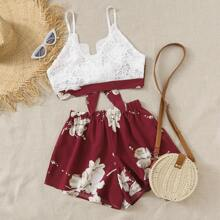 Plus Guipure Lace Tie Back Cami Top With Floral Shorts