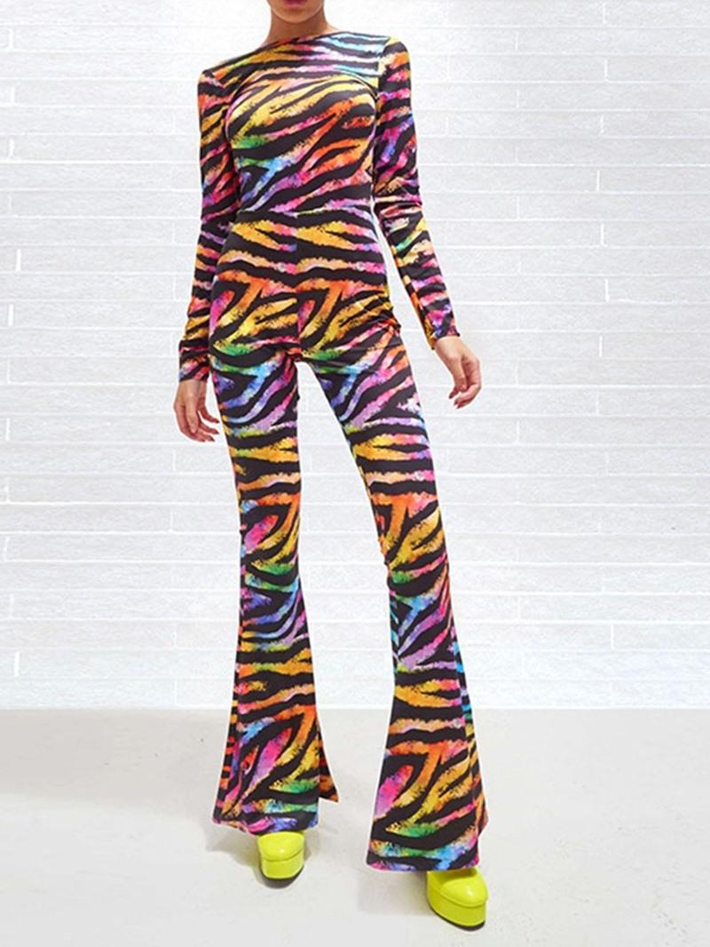 Ericdress Full Length Zebra Stripe Slim Bellbottoms Jumpsuit
