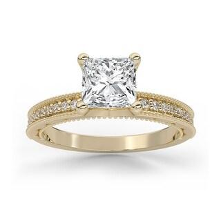 Vintage Milgrain Diamond Moissanite Princess & Round Cut Engagement Ring (3 - Yellow)