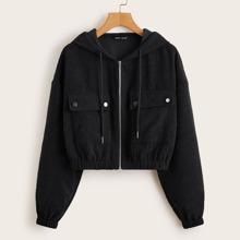 Kord Jacke mit Taschen Klappe vorn und Reissverschluss