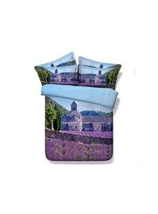 3D Purple Lavender Manor Printed 5-Piece Comforter Sets