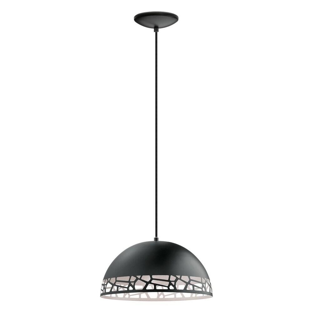 Eglo Savignano 1-Light Pendant in Matte Black (Matte Black & White)