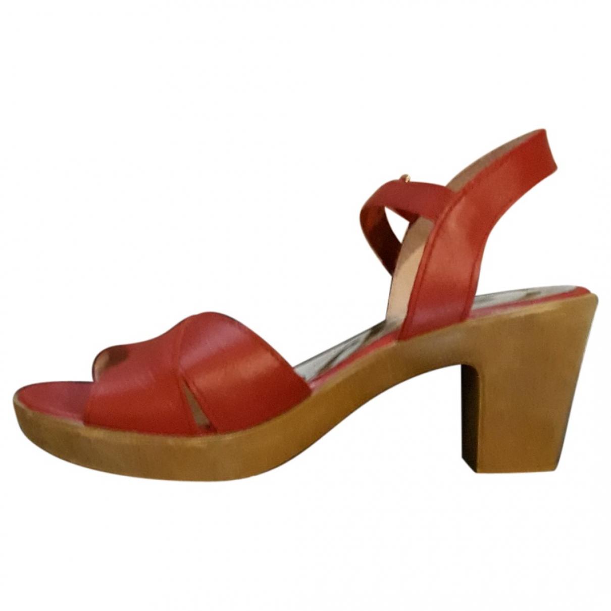 Cuple \N Sandalen in  Rot Leder