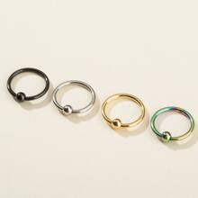 4pcs Round Ball Nose Ring Set