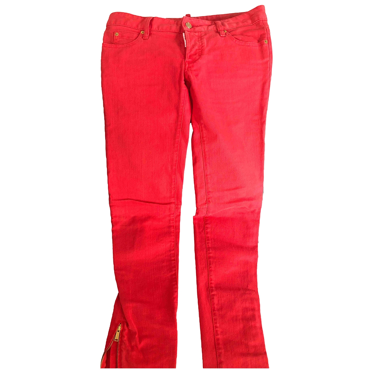 Dsquared2 \N Red Cotton - elasthane Jeans for Women 42 FR