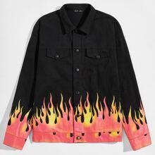 Jacke mit sehr tief angesetzter Schulterpartie, Klappen Detail und Feuer Muster