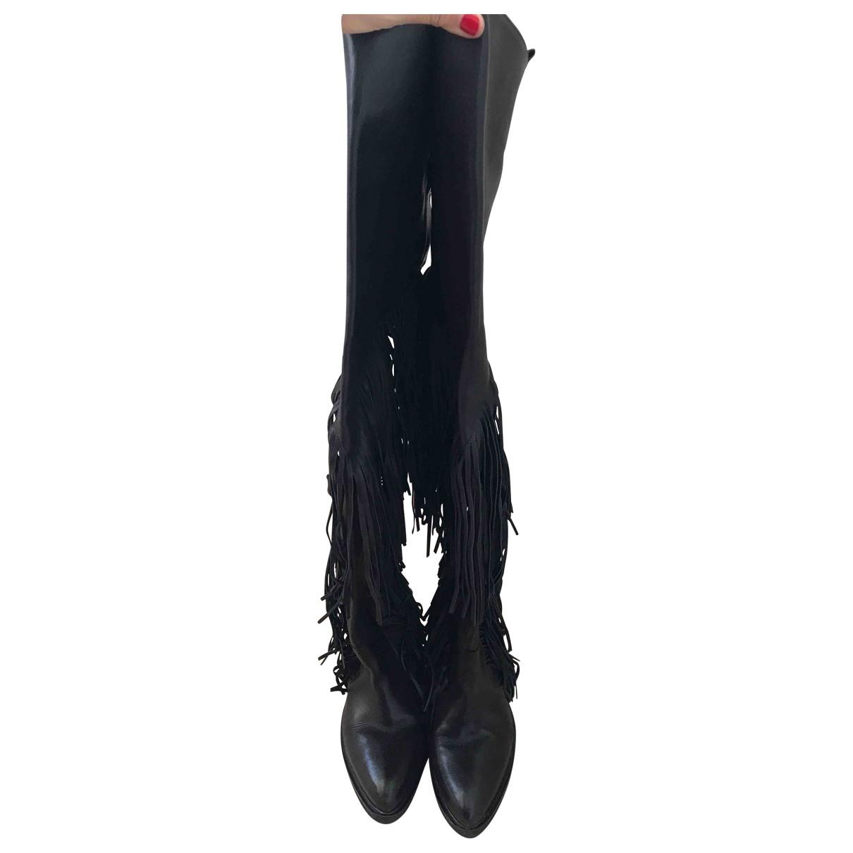 Cinzia Araia N Black Leather Boots for Women 39 EU
