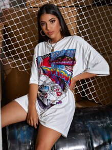 Racer Car Graphic Dropped Shoulder Oversized Tee