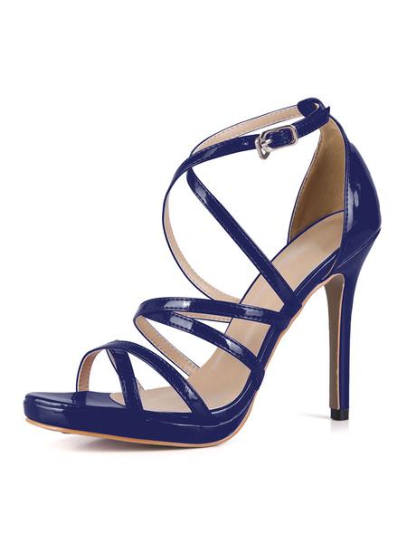 Milanoo Grace Black Strappy Glazed PU High Heel Dress Sandals