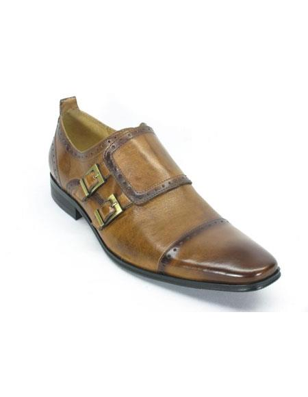 Men's Slip On Leather Double Buckle Cognac Loafers