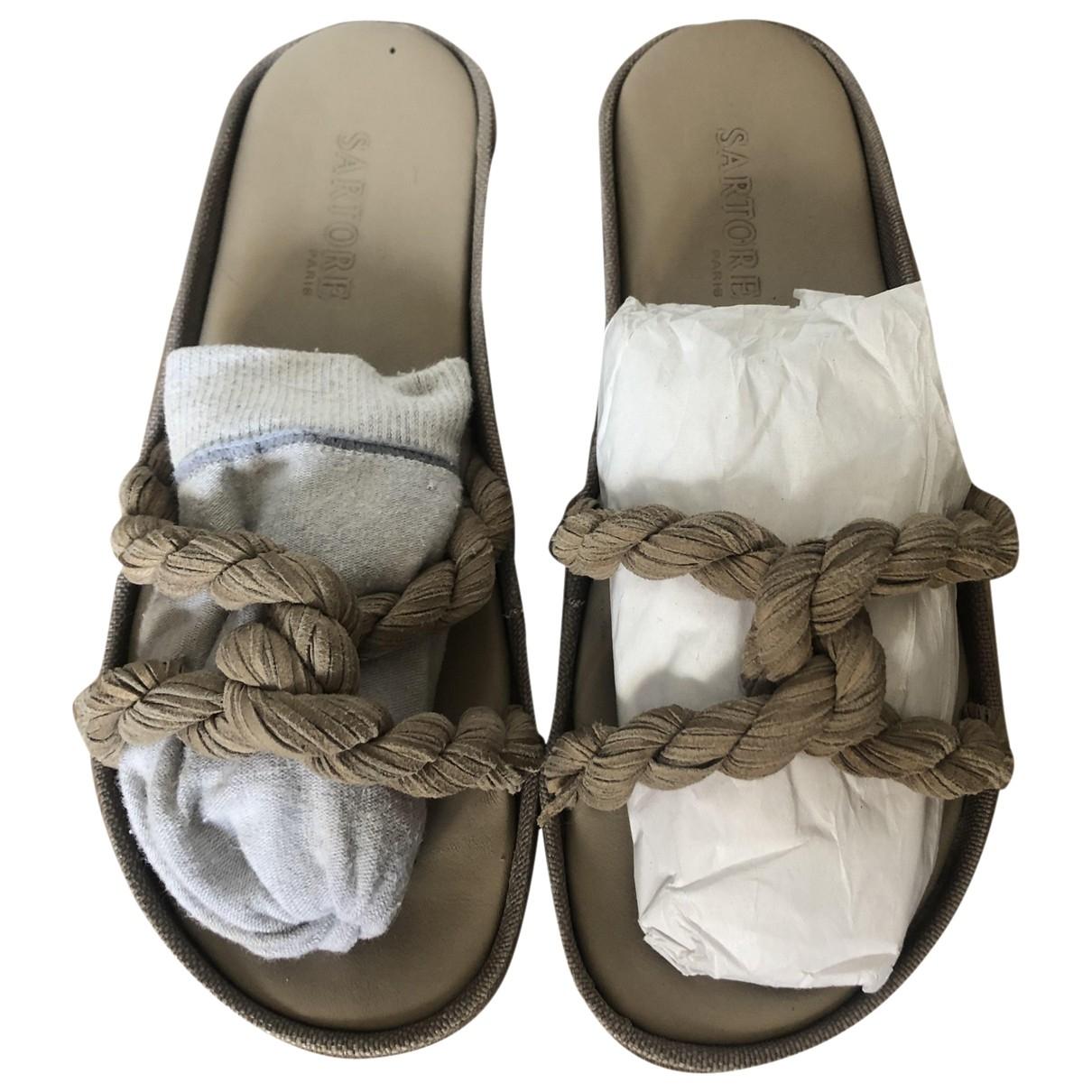Sartore - Sandales   pour femme en toile - beige