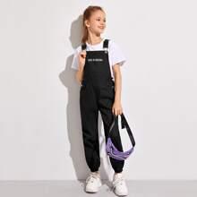 Girls Slogan Graphic Slant Pocket Jumpsuit