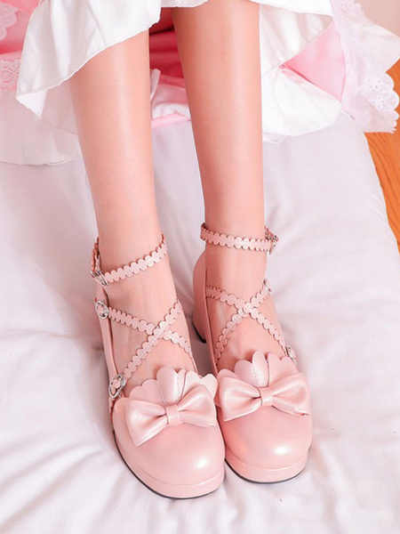 Milanoo Sweet Lolita Pumps Bows Round Toe PU Leather Lolita Shoes