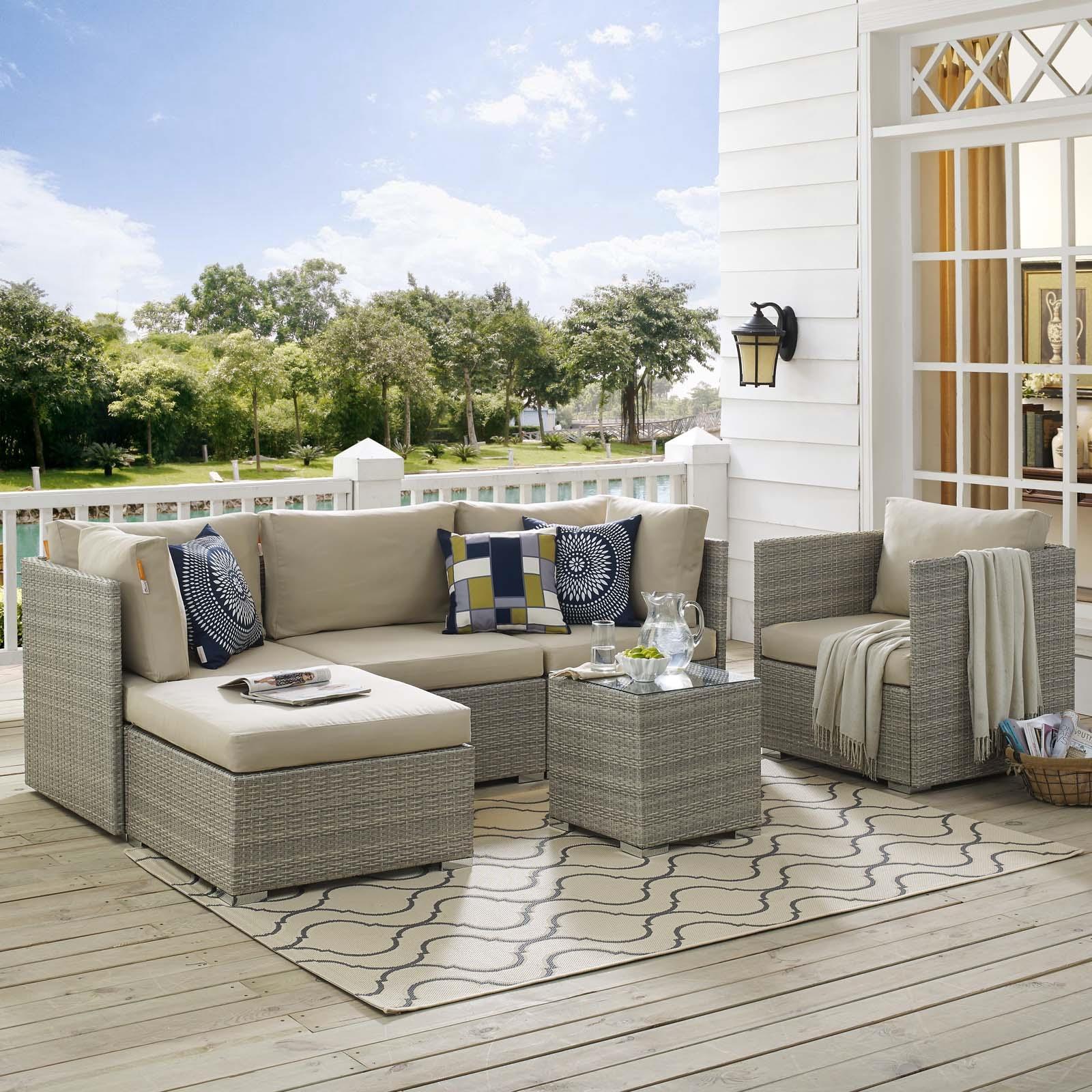 Repose 6 Piece Outdoor Patio Sunbrella® Sectional Set in Light Gray Beige