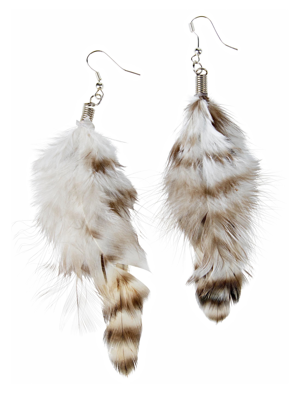 Kostuemzubehor Ohrringe mit Federn weiss/braun