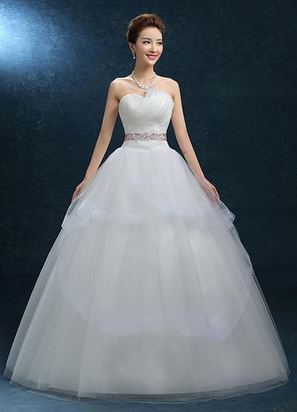 Milanoo Princess Wedding Dress Ball Gown Strapless Organza Bridal Dress Sash Backless Floor Length Ivory Bridal Gown