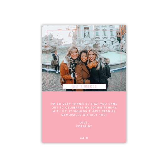 Kikki. k Personalized Small Square Dots & Horizontal Lines Flat Birthday Thank You Card By Kikki K.   Michaels®
