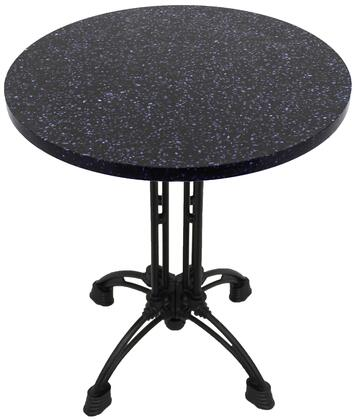 Q409 30 RD-CA18-24D 30 Round Blue Galaxy Quartz Tabletop with 17 Ornate Matte Black Dining Height Table