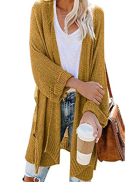 Yoins Split Design Long Sleeves Cardigan