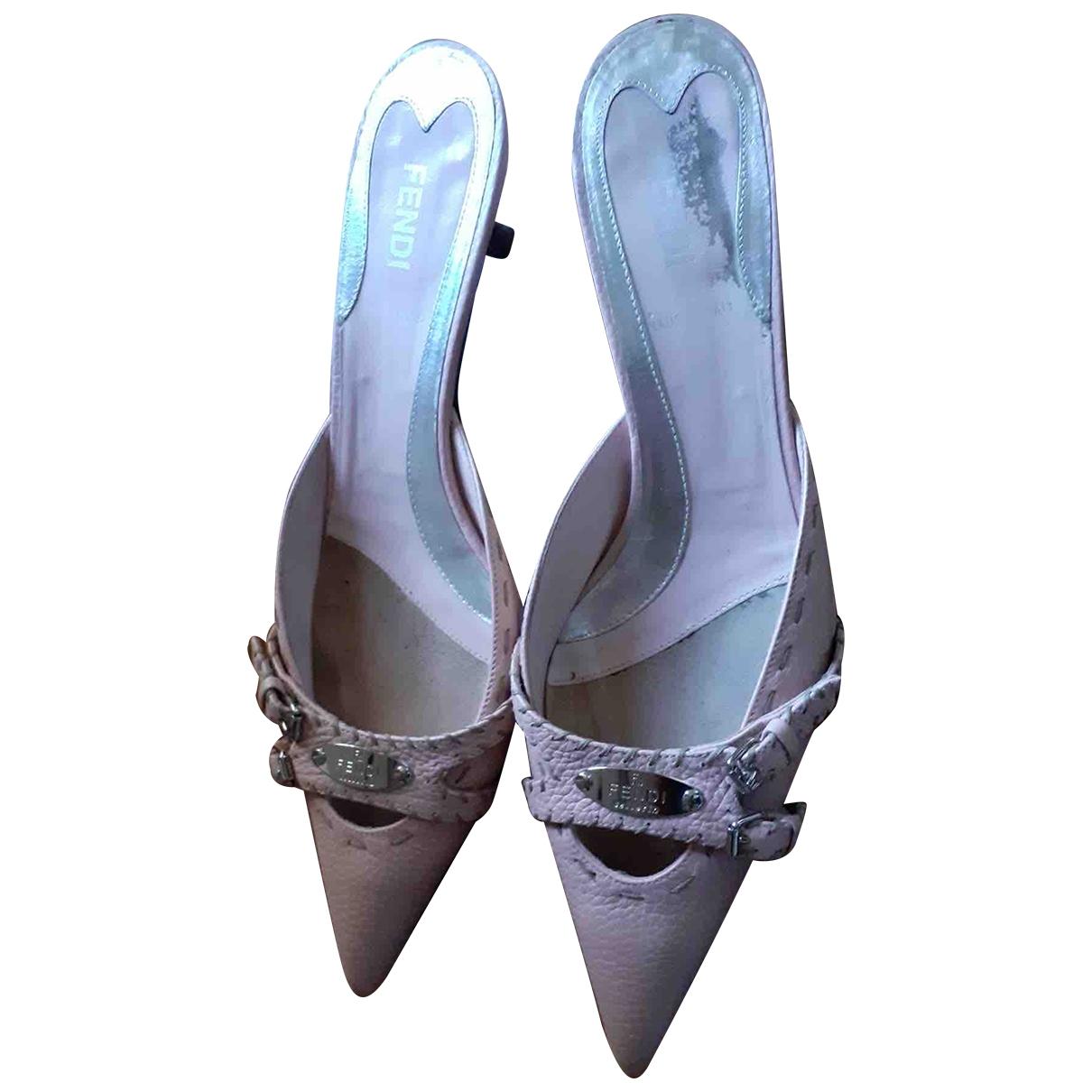 Fendi \N Pink Leather Sandals for Women 39.5 EU