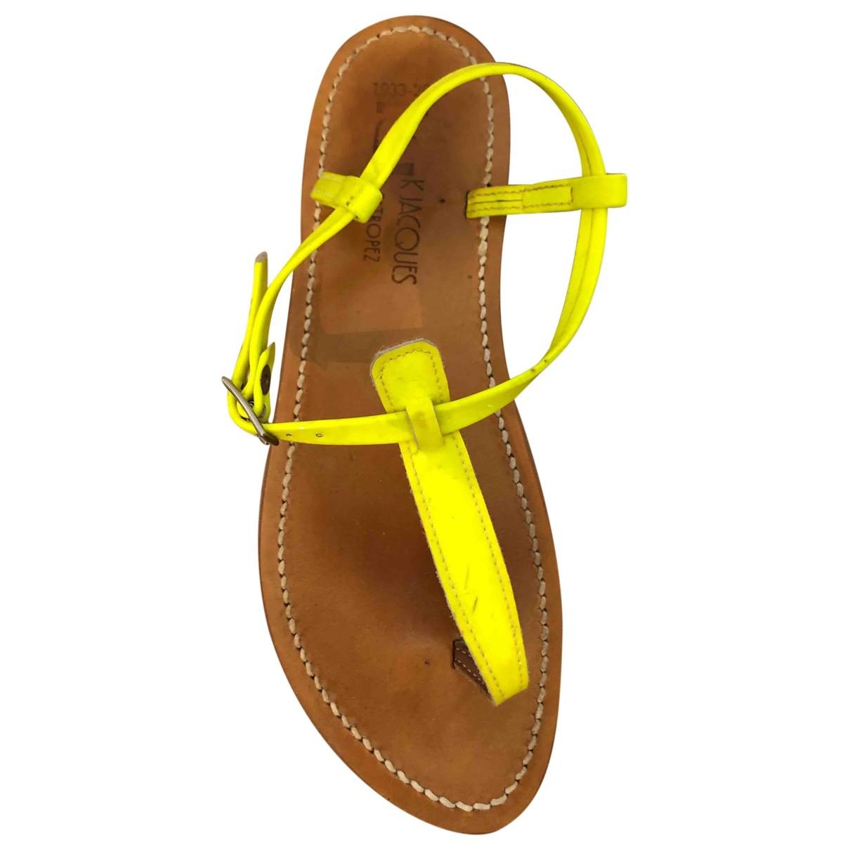 K Jacques Picon Sandalen in  Gelb Lackleder