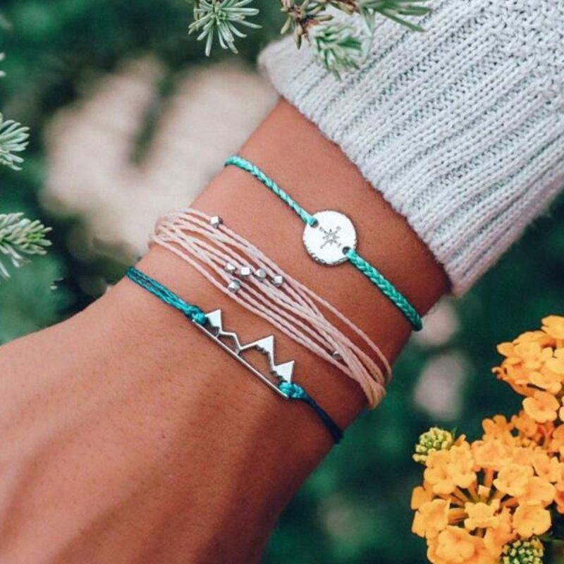 Bohemian Braided Rope Bracelet Set 3 Piece Alloy Coins Irregular Geometric Beads Bracelet For Women