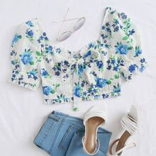 Puff Sleeve Shirred Back Knot Detail Floral Schiffy Crop Top