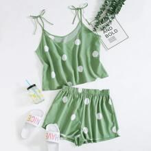 Cami Schlafanzug Set mit Punkten Muster und Knoten