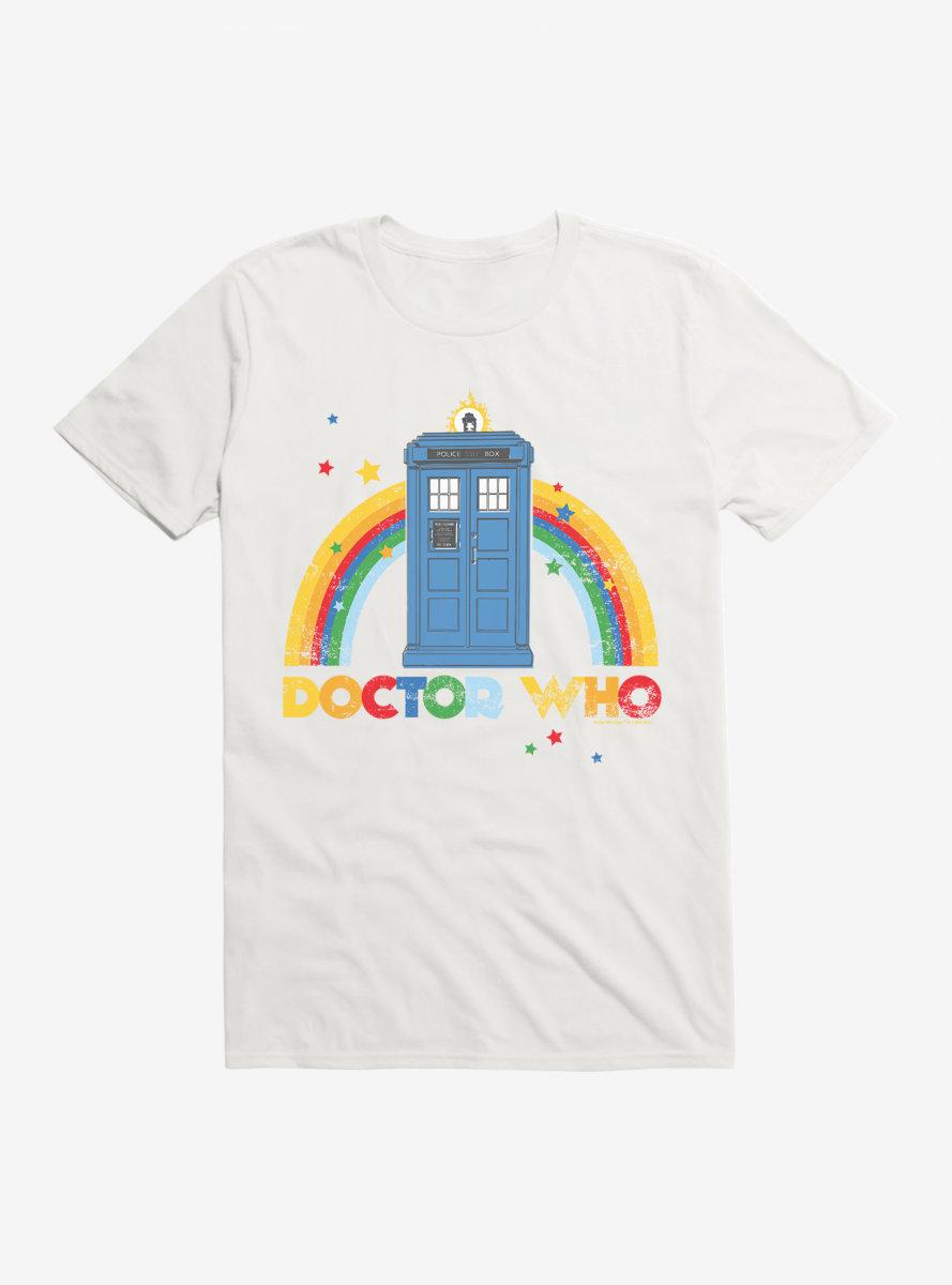 Doctor Who Thirteenth Doctor TARDIS Distressed Rainbow T-Shirt