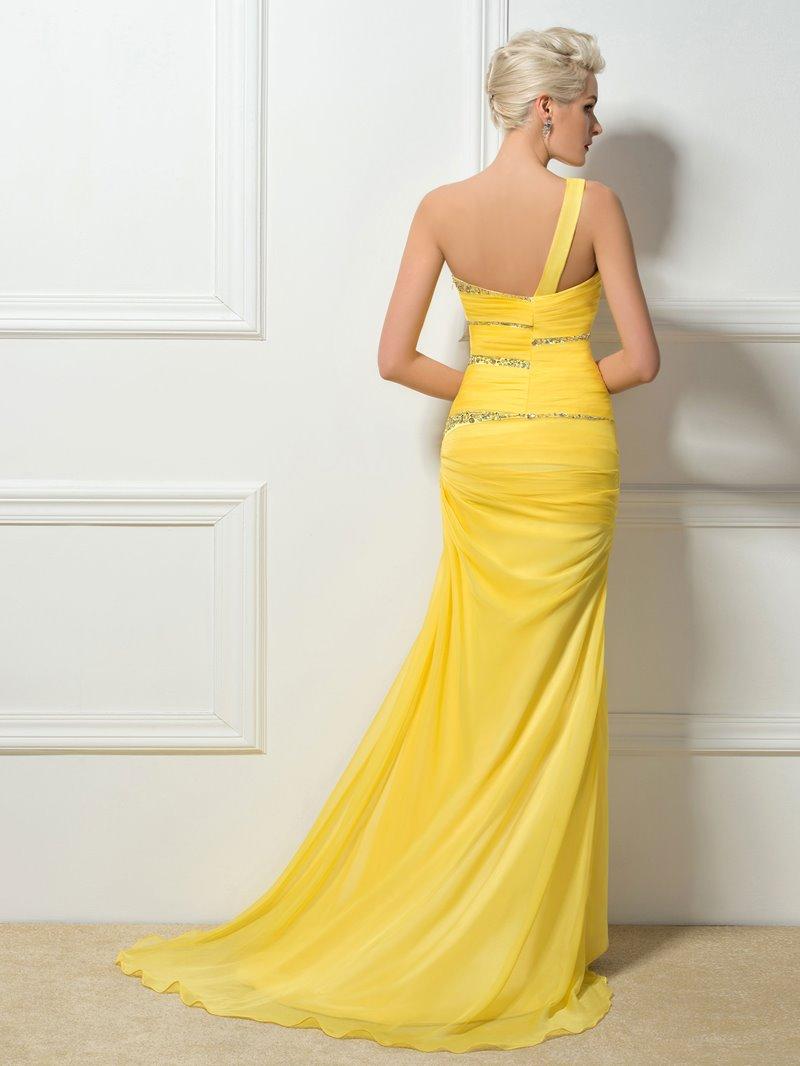 Ericdress Hollow One Shoulder Beading Sheath Evening Dress