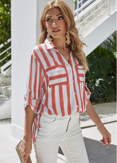 Turndown Collar Button Up Stripe Print Blouse - M