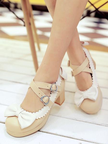 Milanoo Sweet Lolita Footwear Bows Round Toe PU Leather Lolita Pumps
