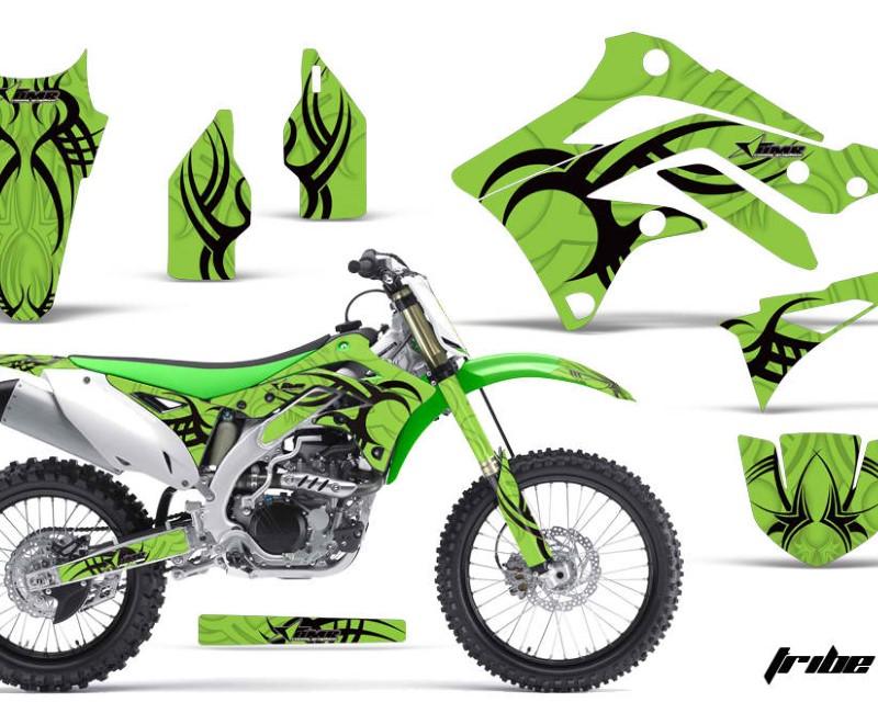 AMR Racing Dirt Bike Decal Graphic Kit Sticker Wrap For Kawasaki KXF450 2012-2015áTRIBE GREEN BLACK