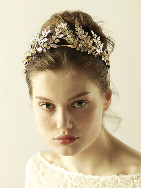 Milanoo Tocado de metal dorado con adorno para la cabeza para mujer Fiesta de bodas