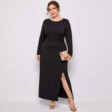 Kleid mit Schlitz und Ausschnitt hinten