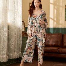 3 Stuecke Schlafanzug Set mit Blumen Muster und Schlitz
