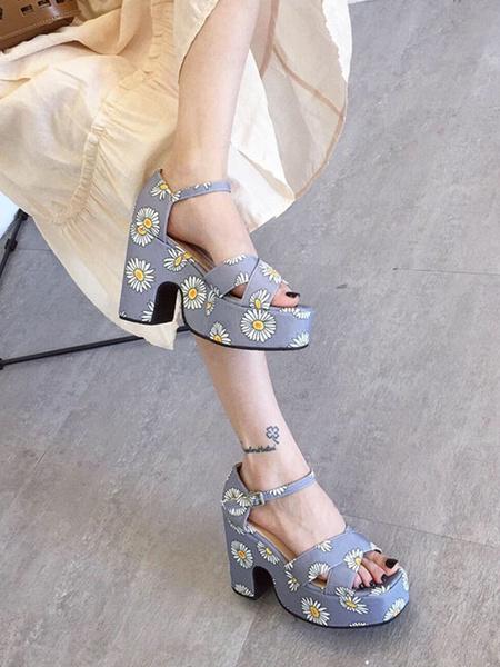 Milanoo Block Heel Sandals Pink Open Toe Printed High Heel Sandal Shoes For Women