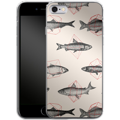 Apple iPhone 6 Silikon Handyhuelle - Fishes in Geometrics von Florent Bodart
