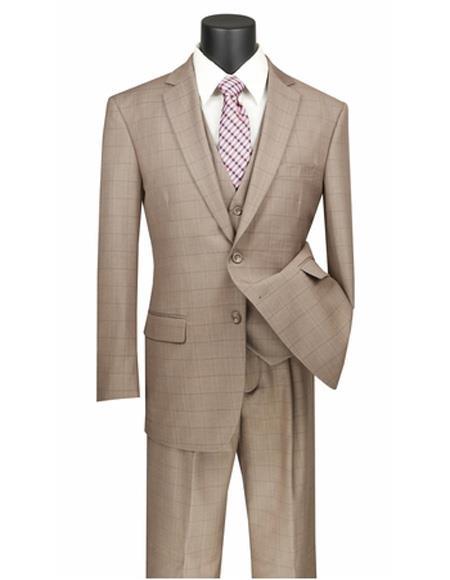 Plaid ~ Window Pane 2 button Vested 3 Piece Suit Regular Fit Tan