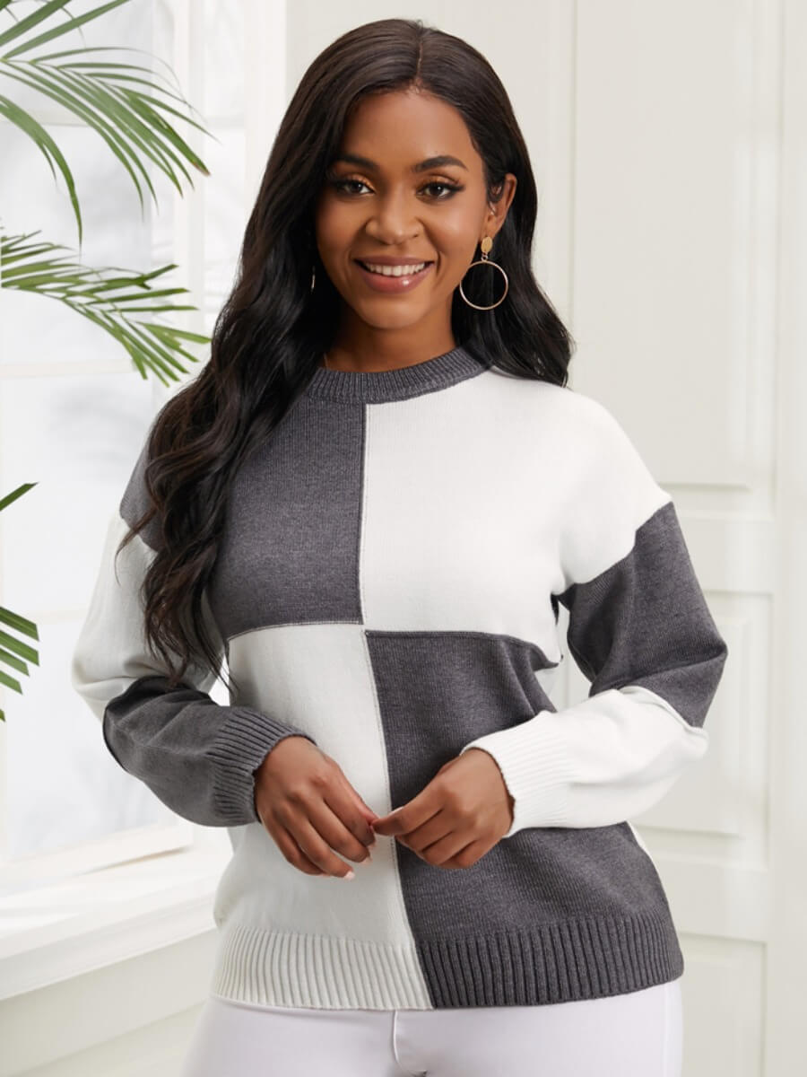 LW Lovely Casual O Neck Color-lump Dark Grey Sweater