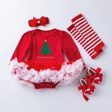4 Packe Body mit Weihnachten Muster und Netzeinsatz